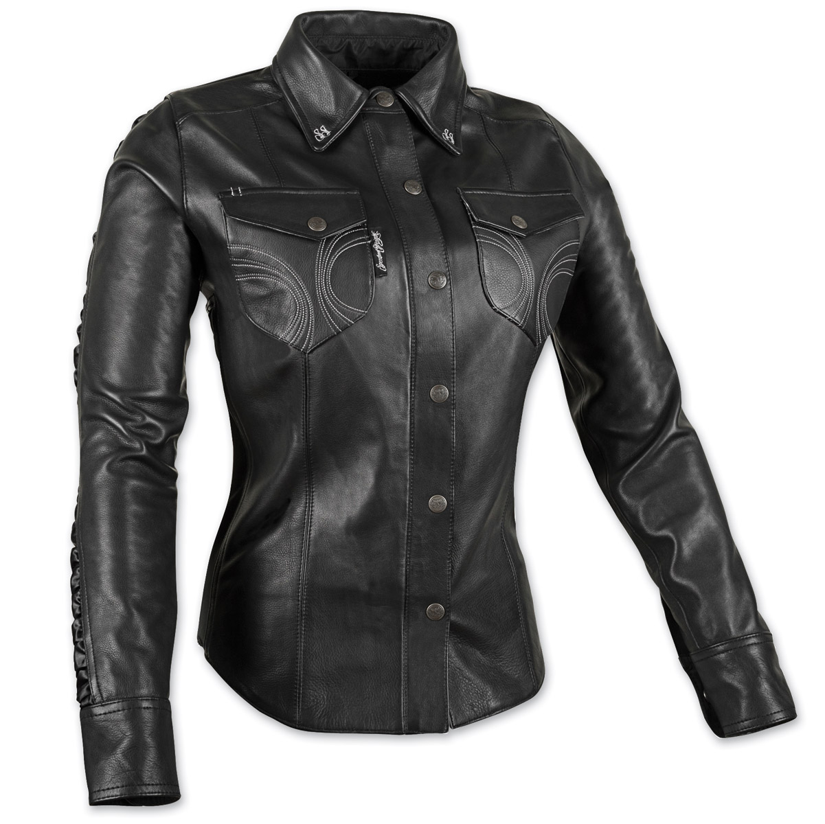 Speed and strength women 39 s black heart black leather moto for Red leather shirt for womens
