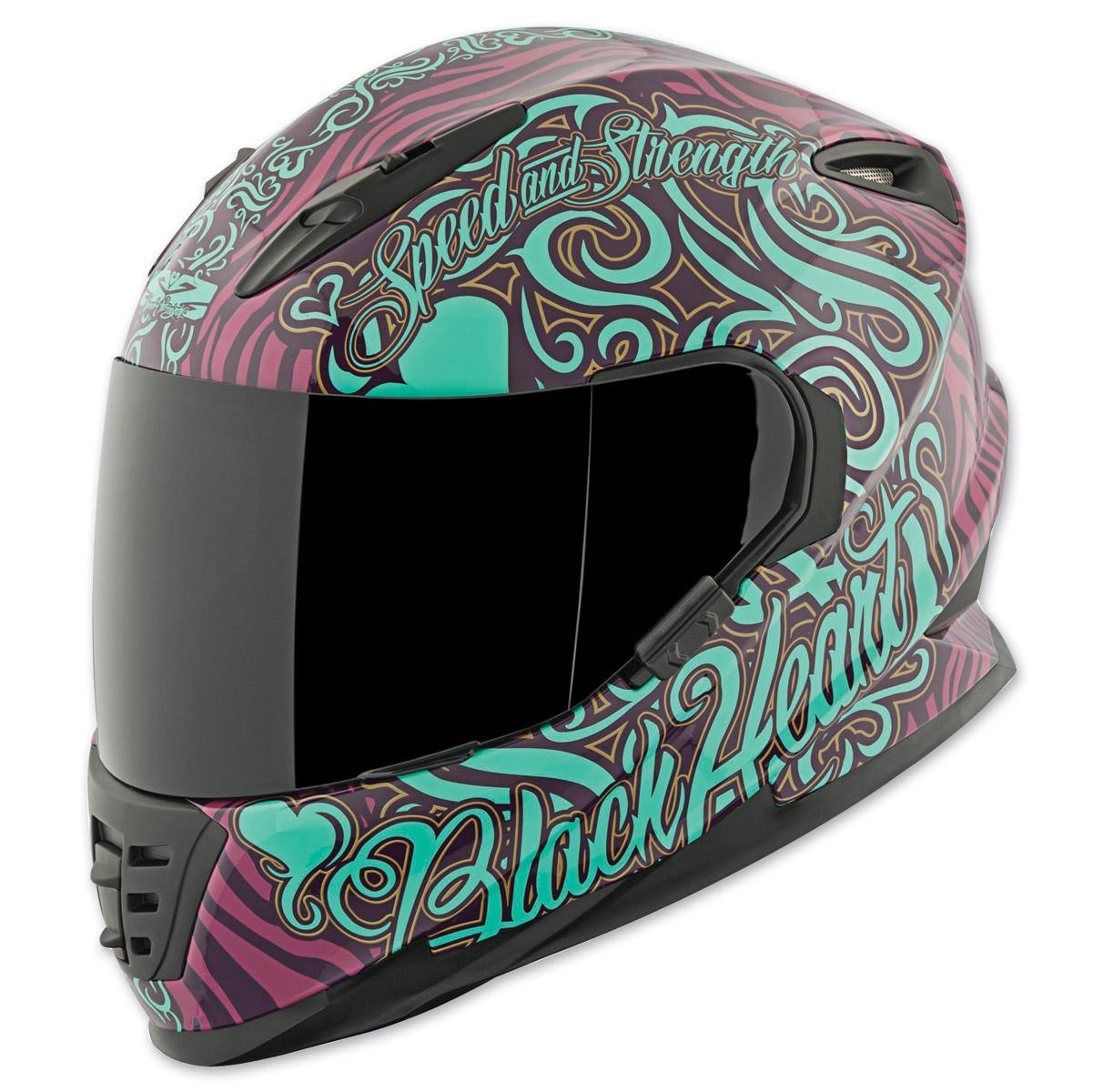 Speed and Strength SS1310 Black Heart Purple/Teal Full Face Helmet