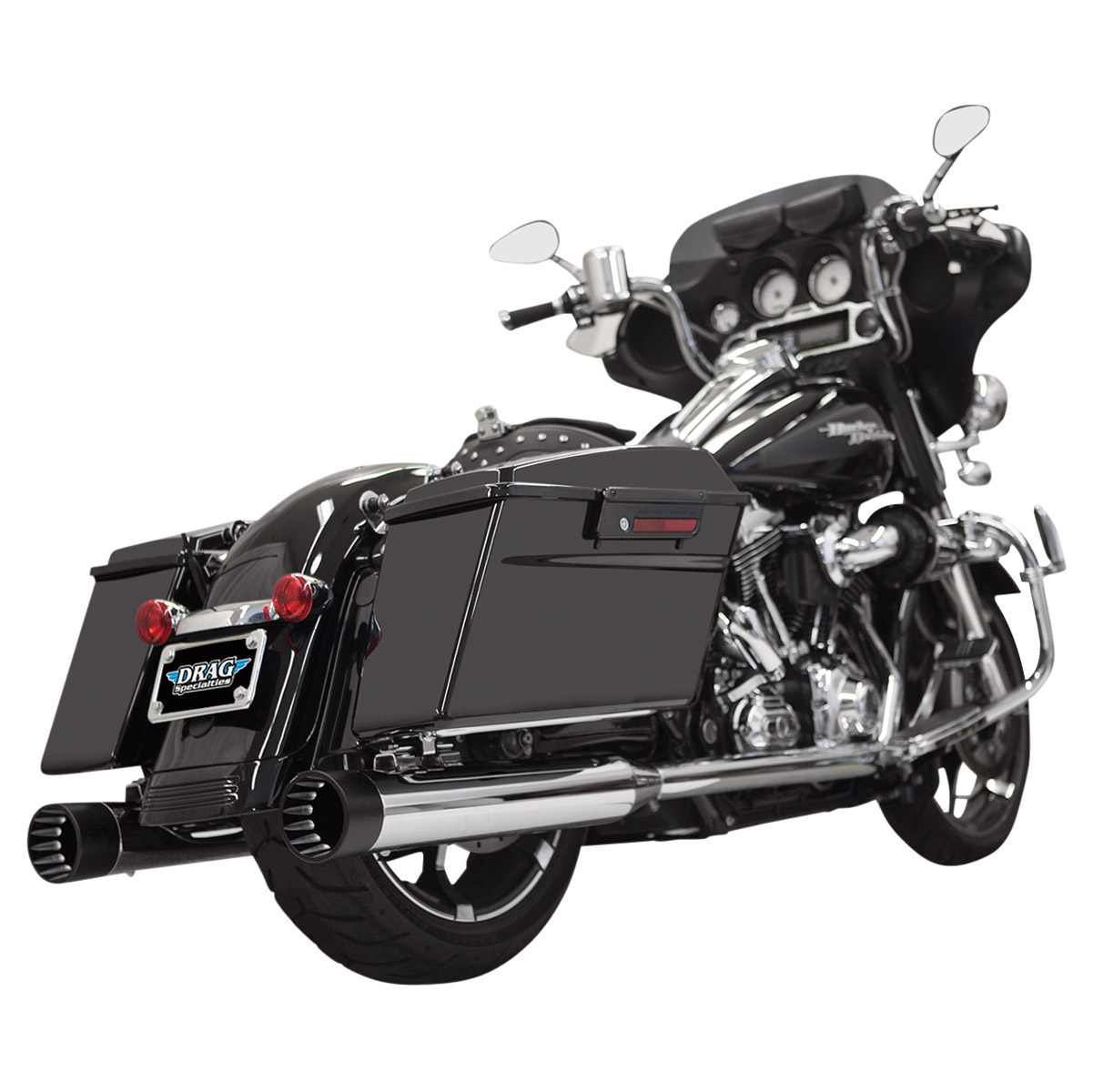 Bassani 4″ Straight Can DNT Slip On Mufflers Chrome with Black End Cap