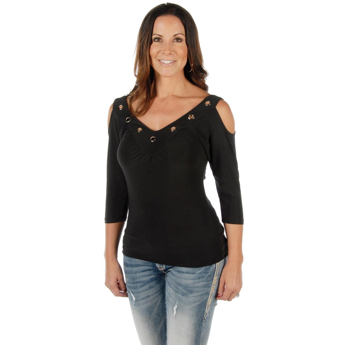 Liberty Wear Women's Hard Core Sasha Black V-Neck Top