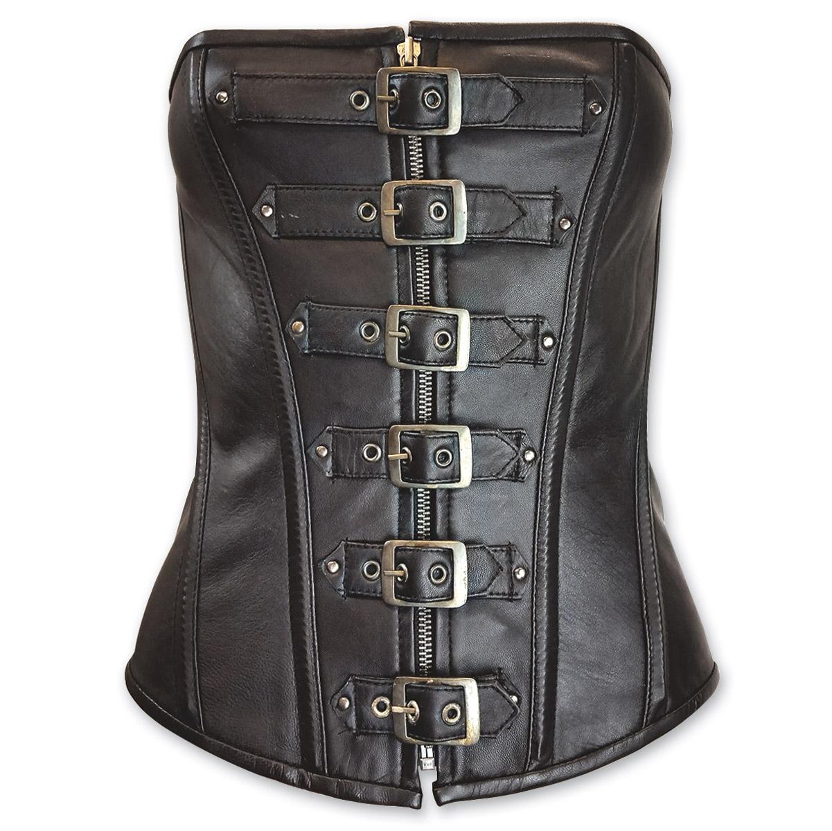 Vance Leathers Women's 6 Buckle Zip Front Black Leather Corset