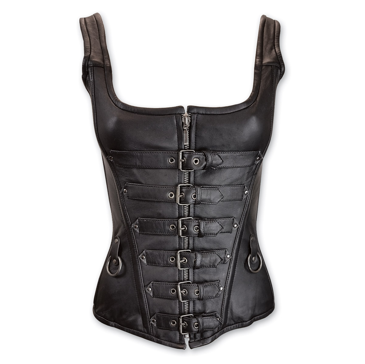 Vance Leathers Women's Rings and Straps Black Leather Corset - Vance Leathers Women's Rings And Straps Black Leather Corset 753
