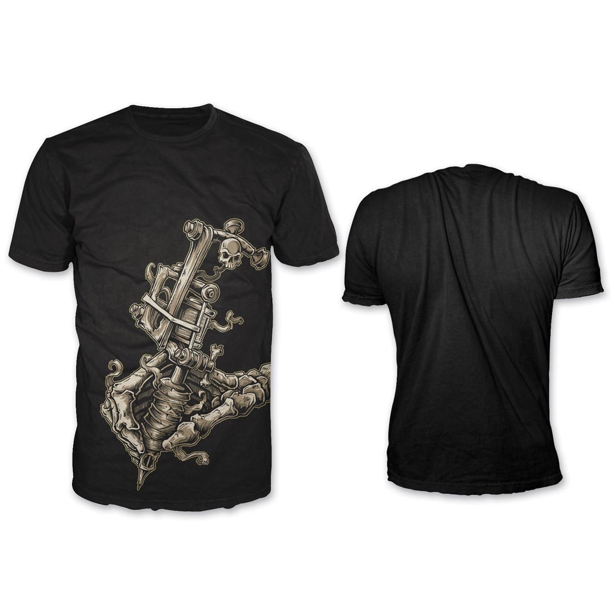 Lethal Threat Men's Tattoo Gun Black T-Shirt
