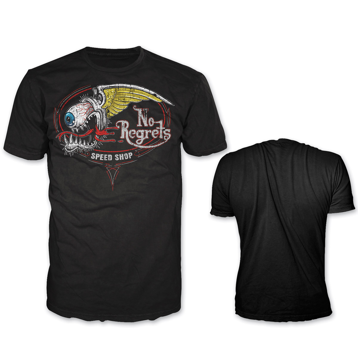 Lethal Threat Highway Outlaw Men's No Regrets Speed Shop Black T-Shirt