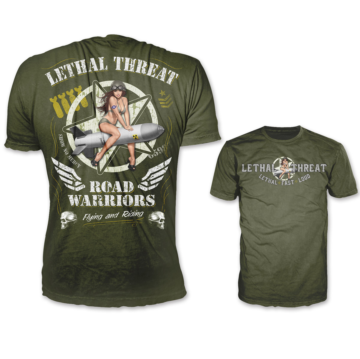 Lethal Threat Men s To Hell And Back Army Green T-Shirt - LT20354-XL bf1978704a3