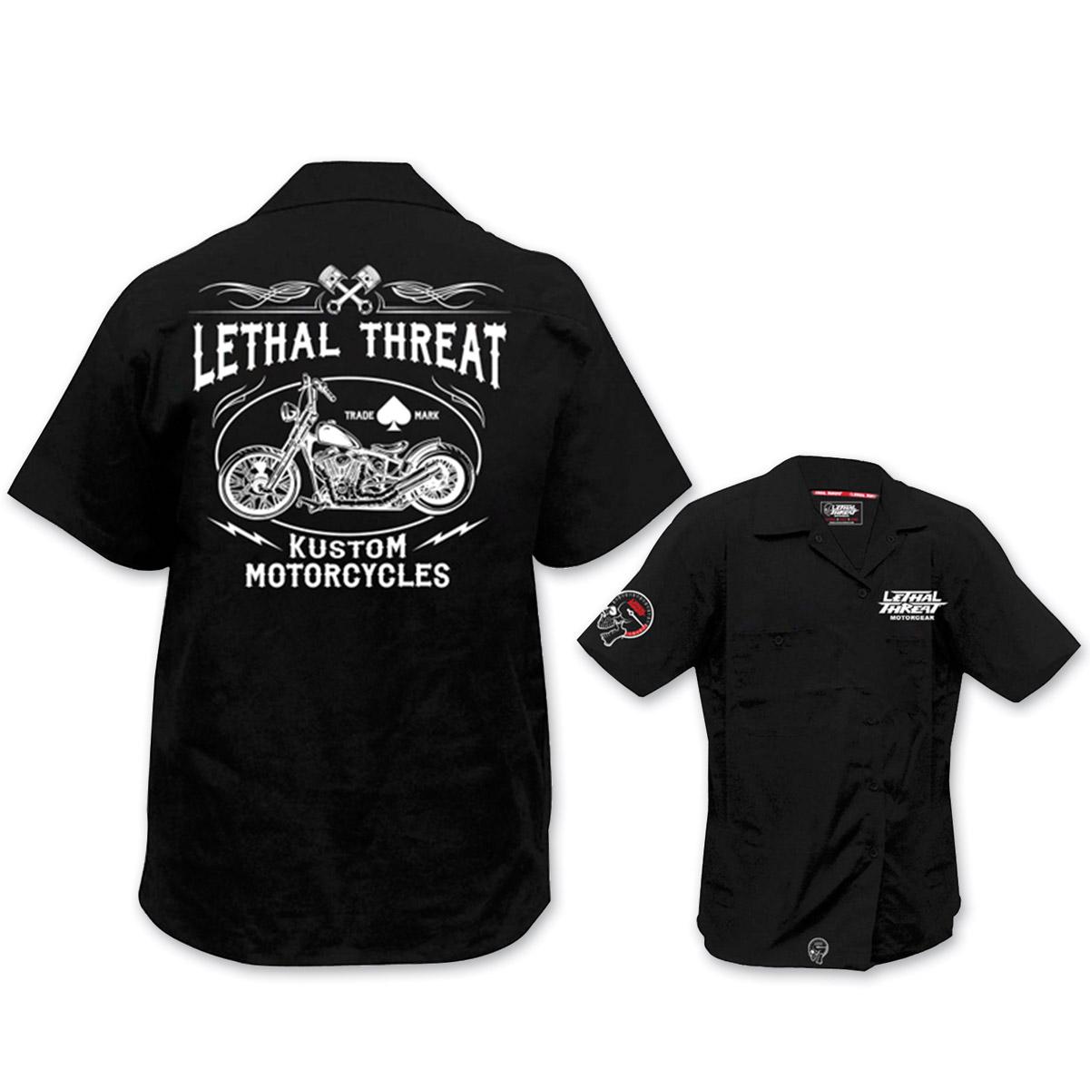 Lethal Threat Men's Kustom Motorcycle Black Work Shirt