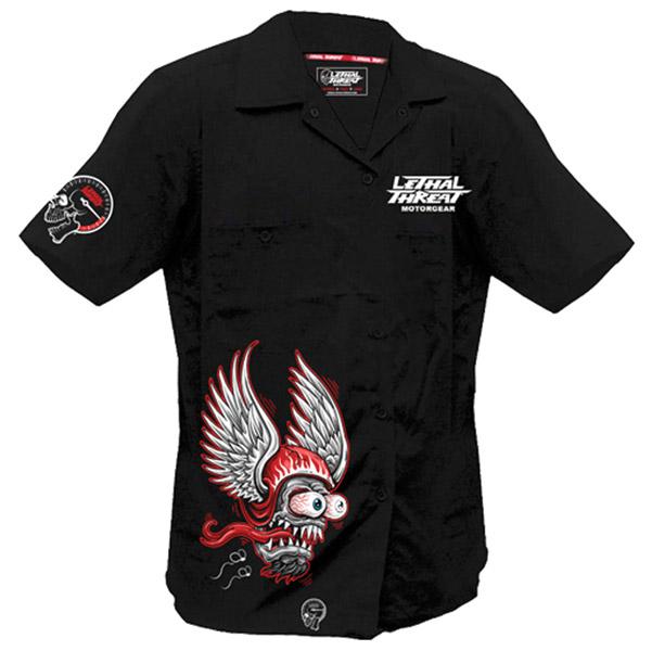 Lethal Threat Men's Winged Helmet Monster Black Work Shirt