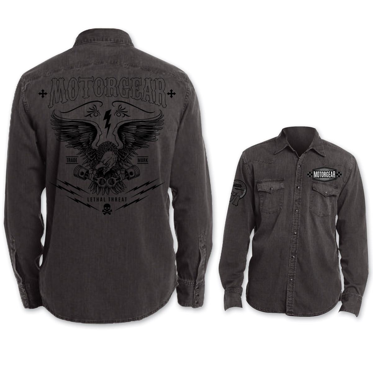 Lethal Threat Motorgear Men's Eagle Piston Black Button Down Shirt ...