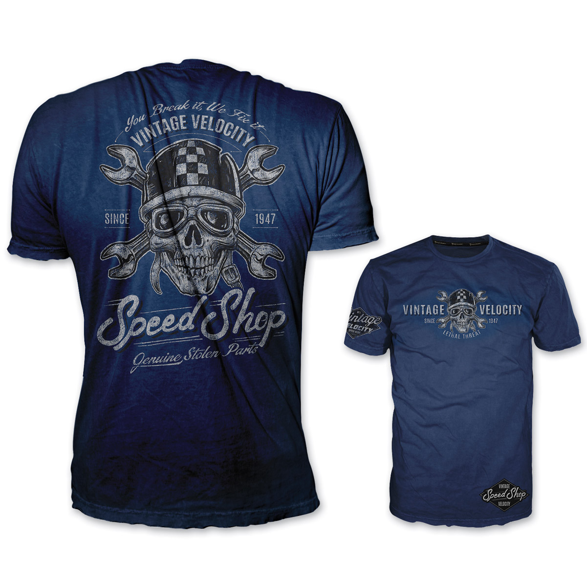 Lethal Threat Vintage Velocity Men's Speed Shop Blue T-Shirt