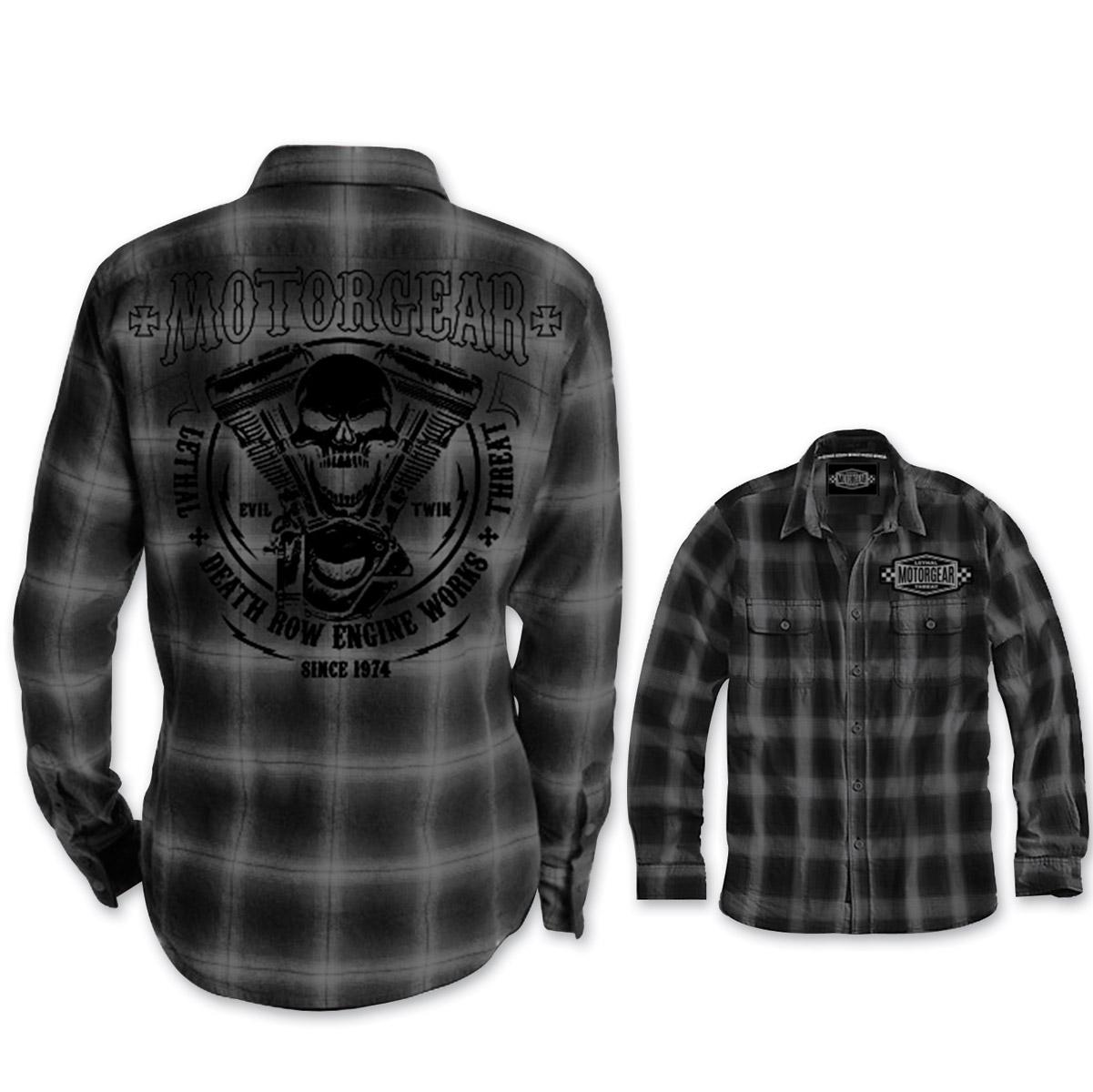 Lethal Threat Motorgear Men's Death Row Black/Gray Button Shirt