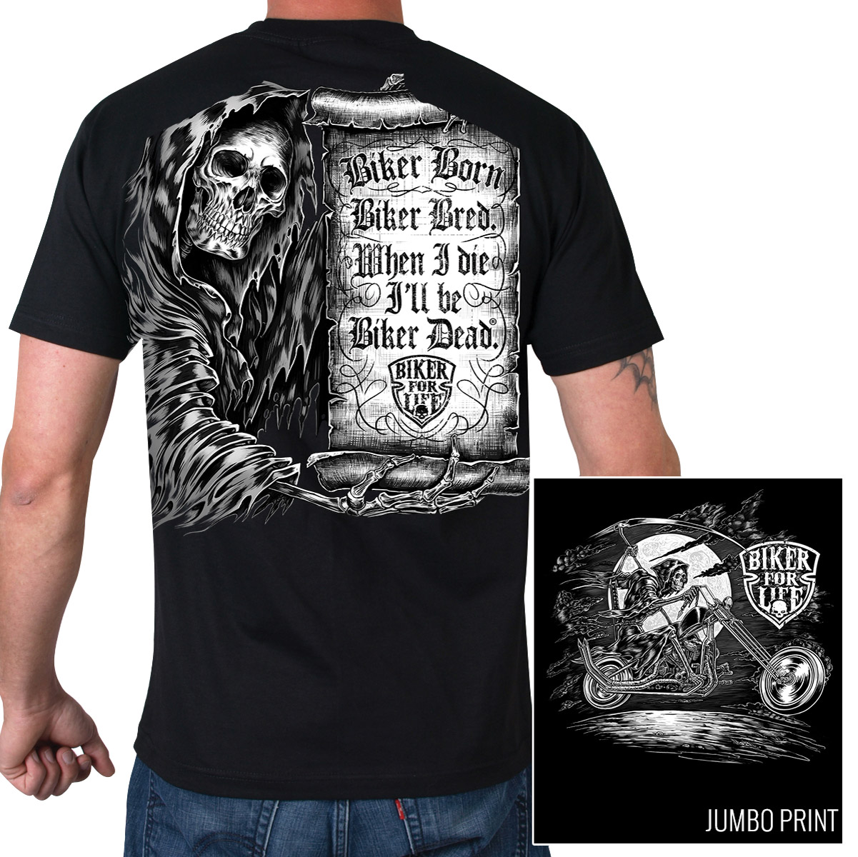 Hot Leathers Men's Scroll Black T-Shirt