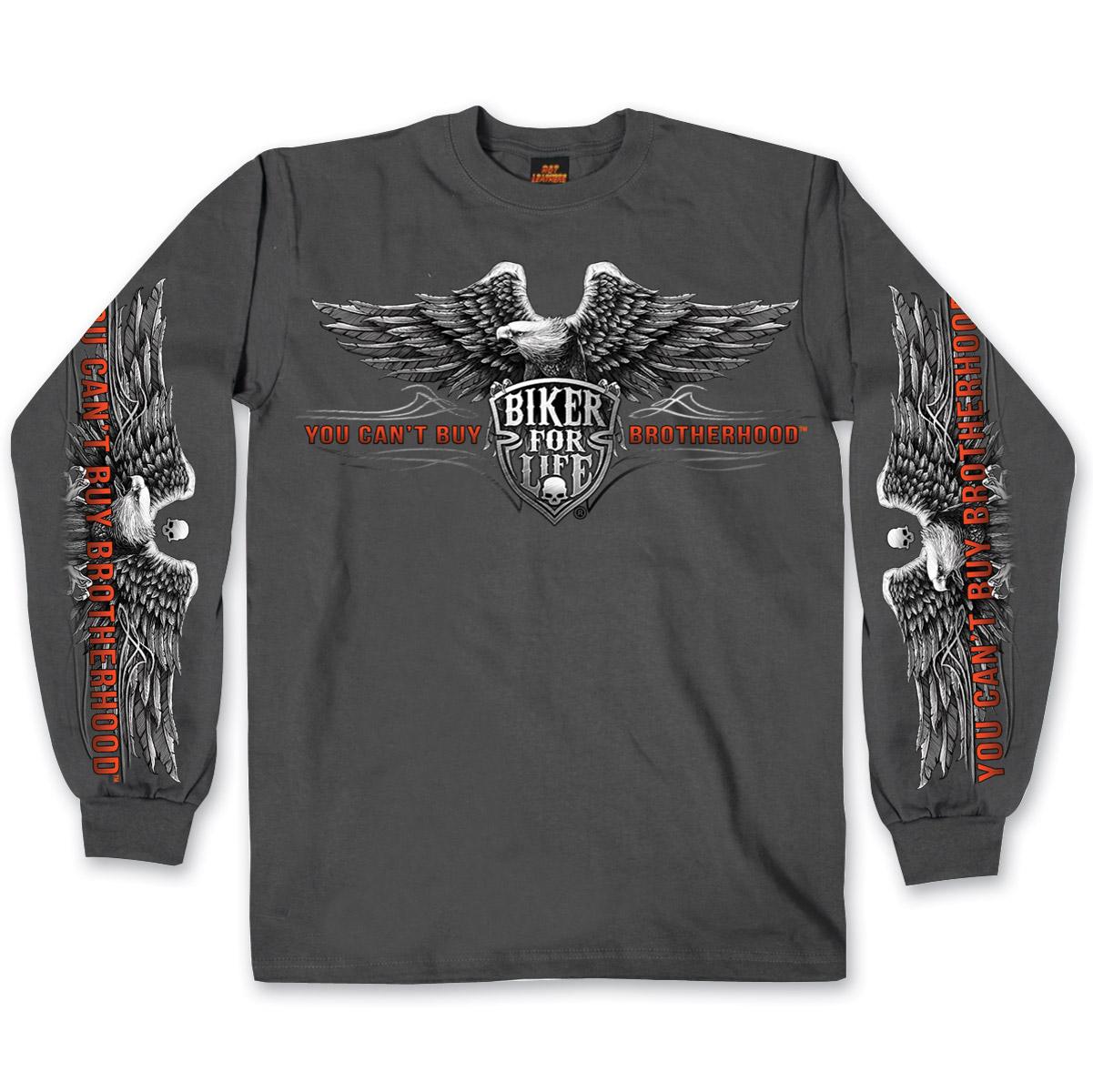 Hot Leathers Men's Brotherhood Eagle Charcoal Long-Sleeve Shirt