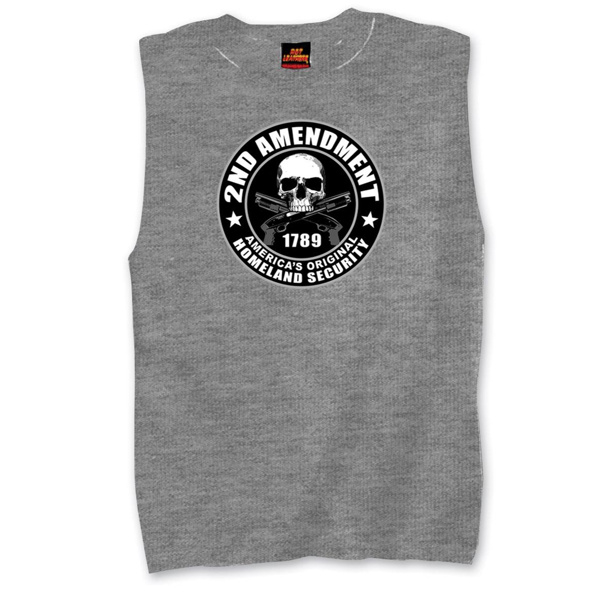 Hot Leathers Men's 2nd Amendment Gray Sleeveless Shirt
