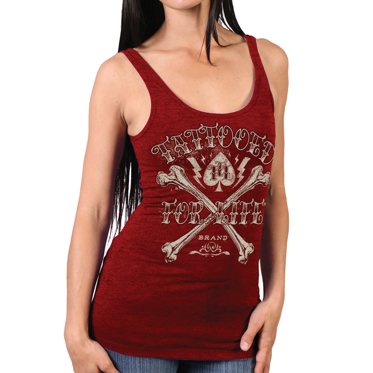 Hot Leathers Women's Tattooed For Life Red Tank Top