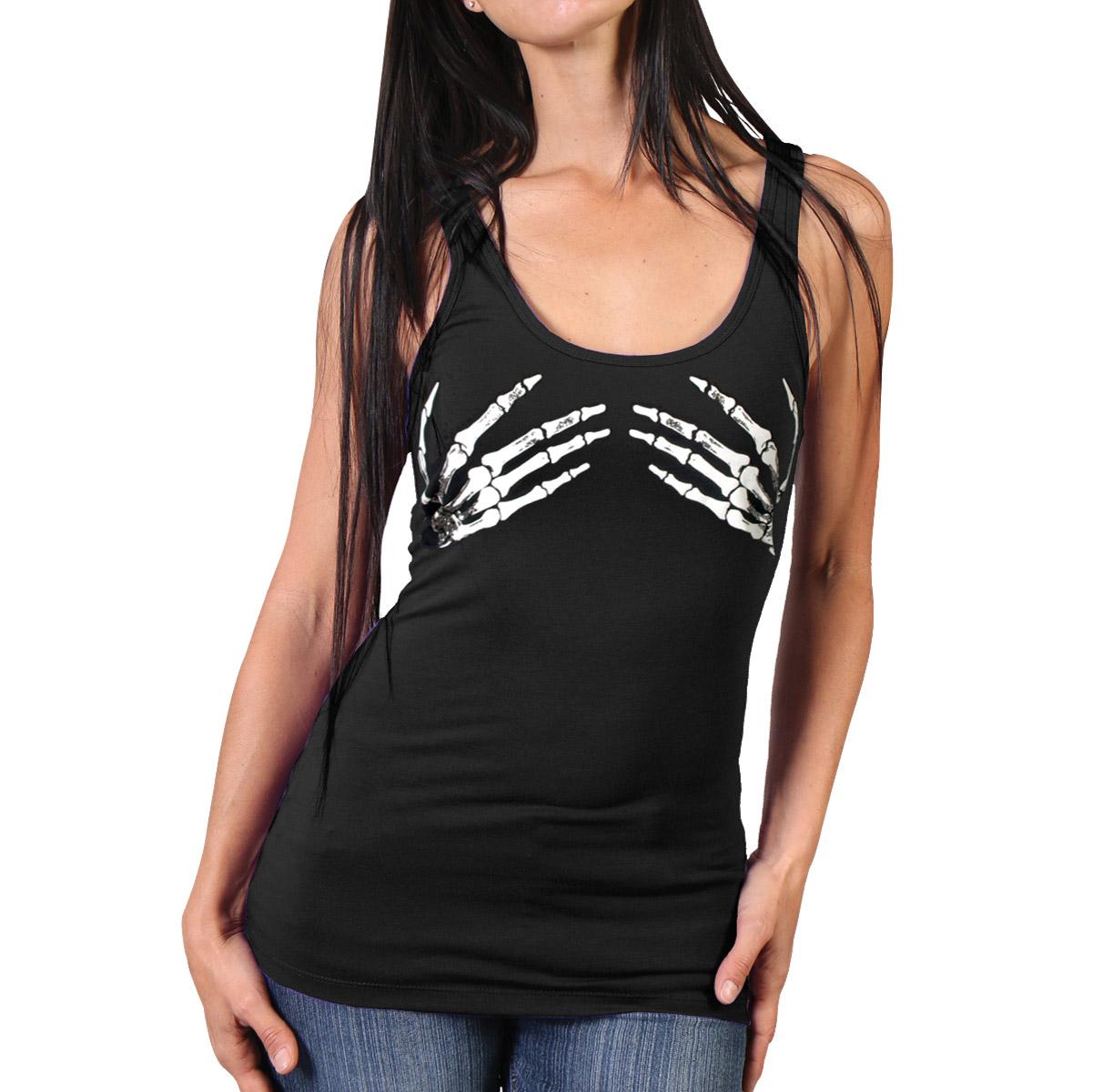 Hot Leathers Women's Skeleton Hands Black Tank Top