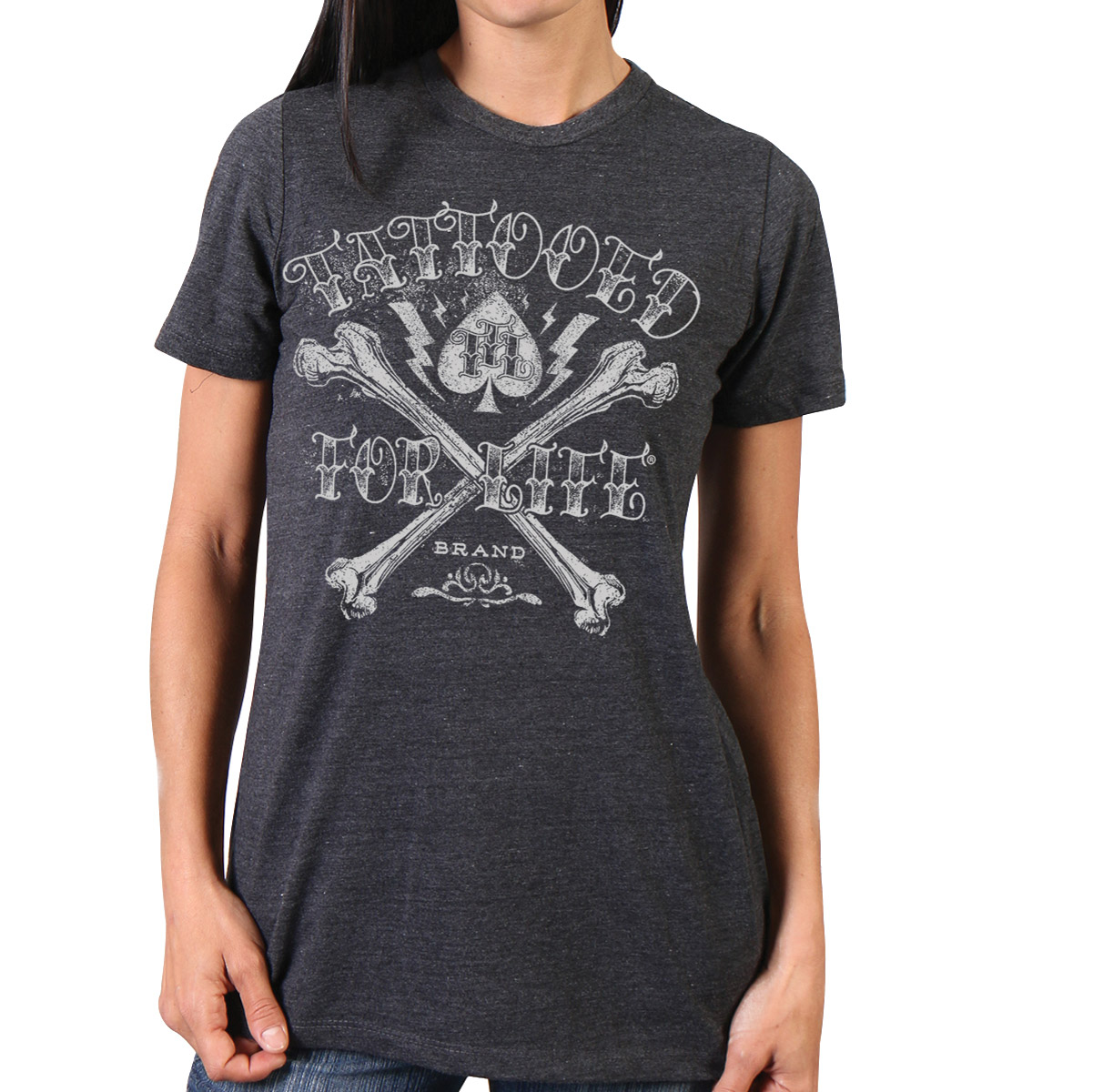Hot Leathers Women\'s Tattooed For Life Charcoal T-Shirt - GLR1382-MD ...