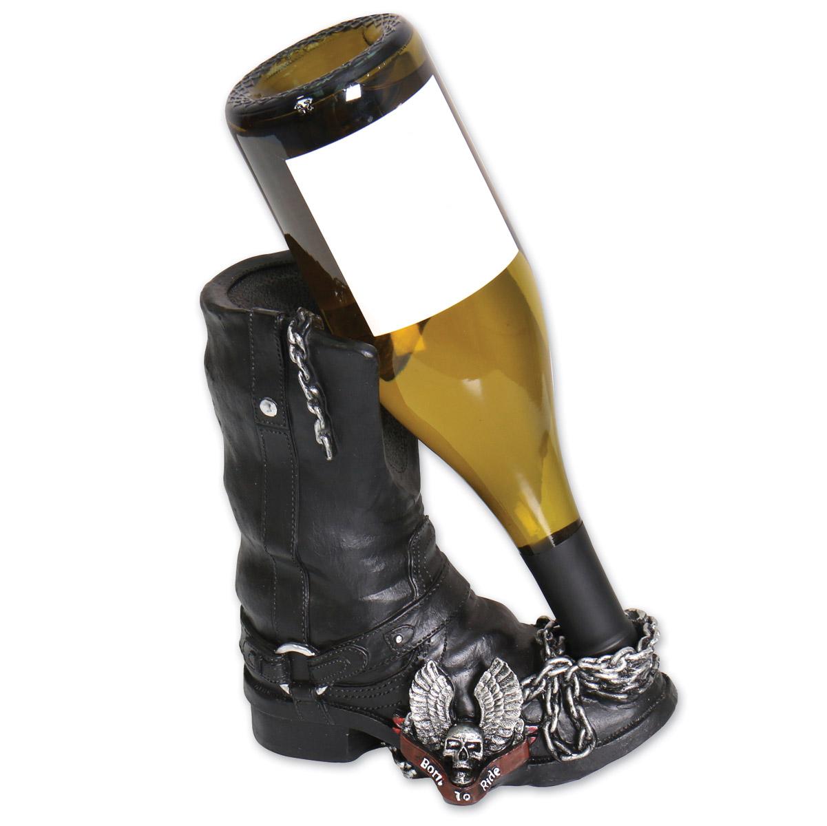 Hot Leathers Black Boot Wine Bottle Holder