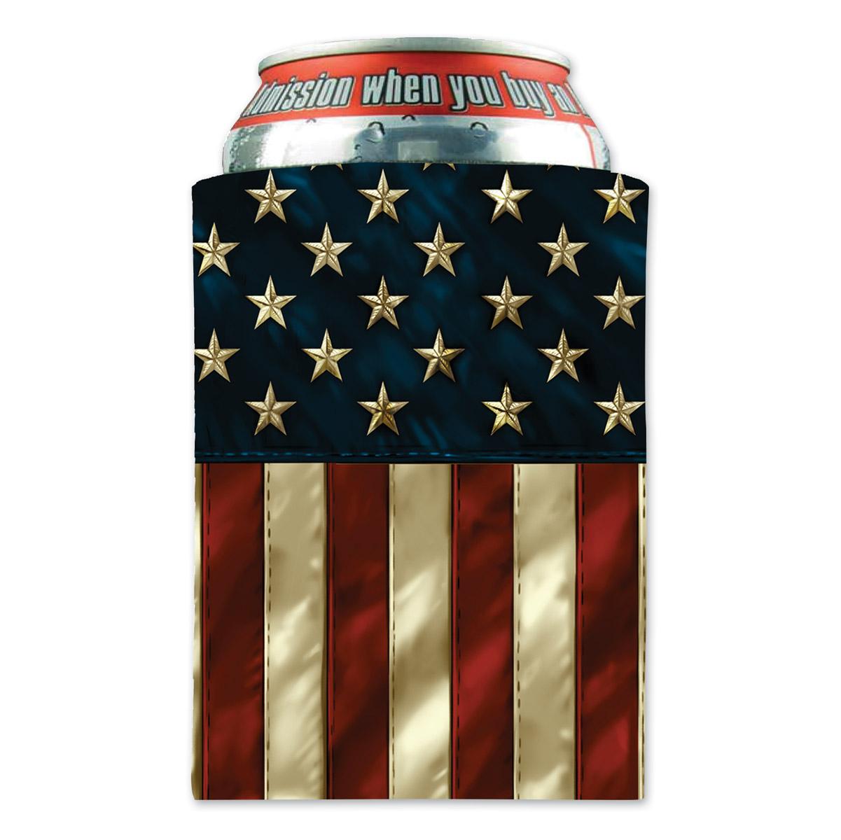Hot Leathers American Flag Can Koozie