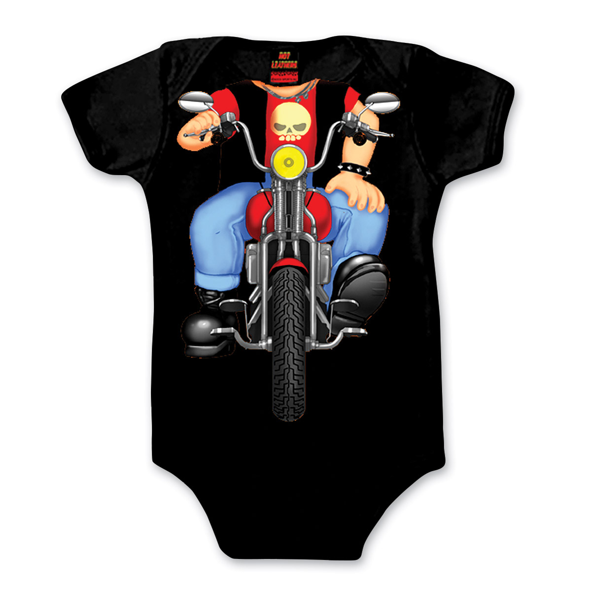 Hot Leathers Boy's Grown Up Biker Boy Black Onesie