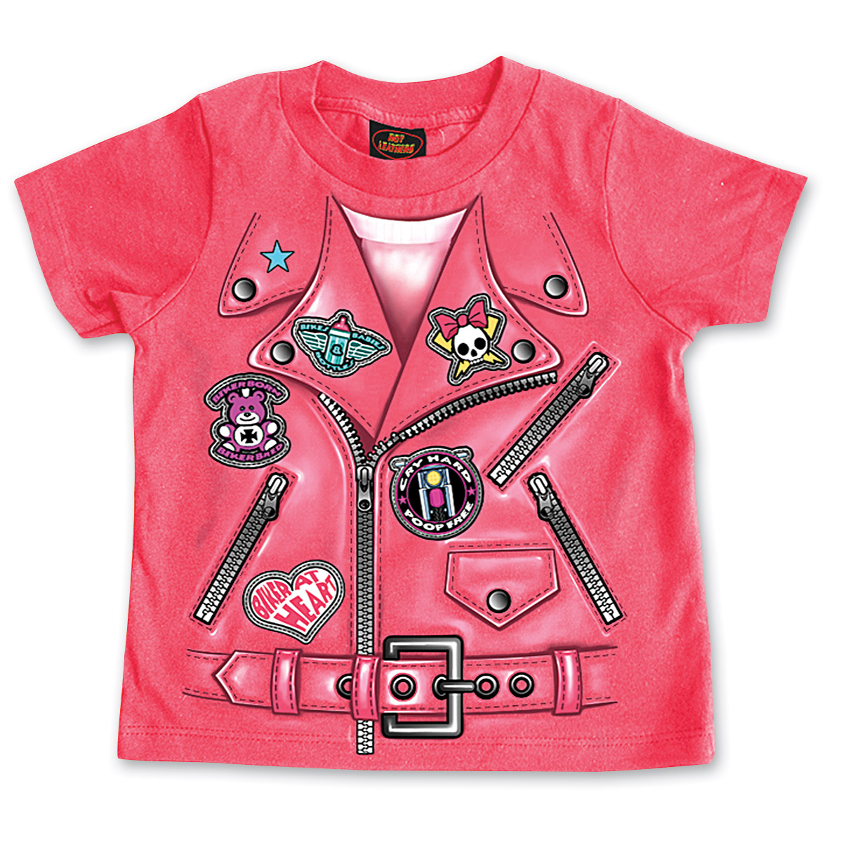 Hot Leathers Girl's Leather Jacket Hot Pink T-Shirt