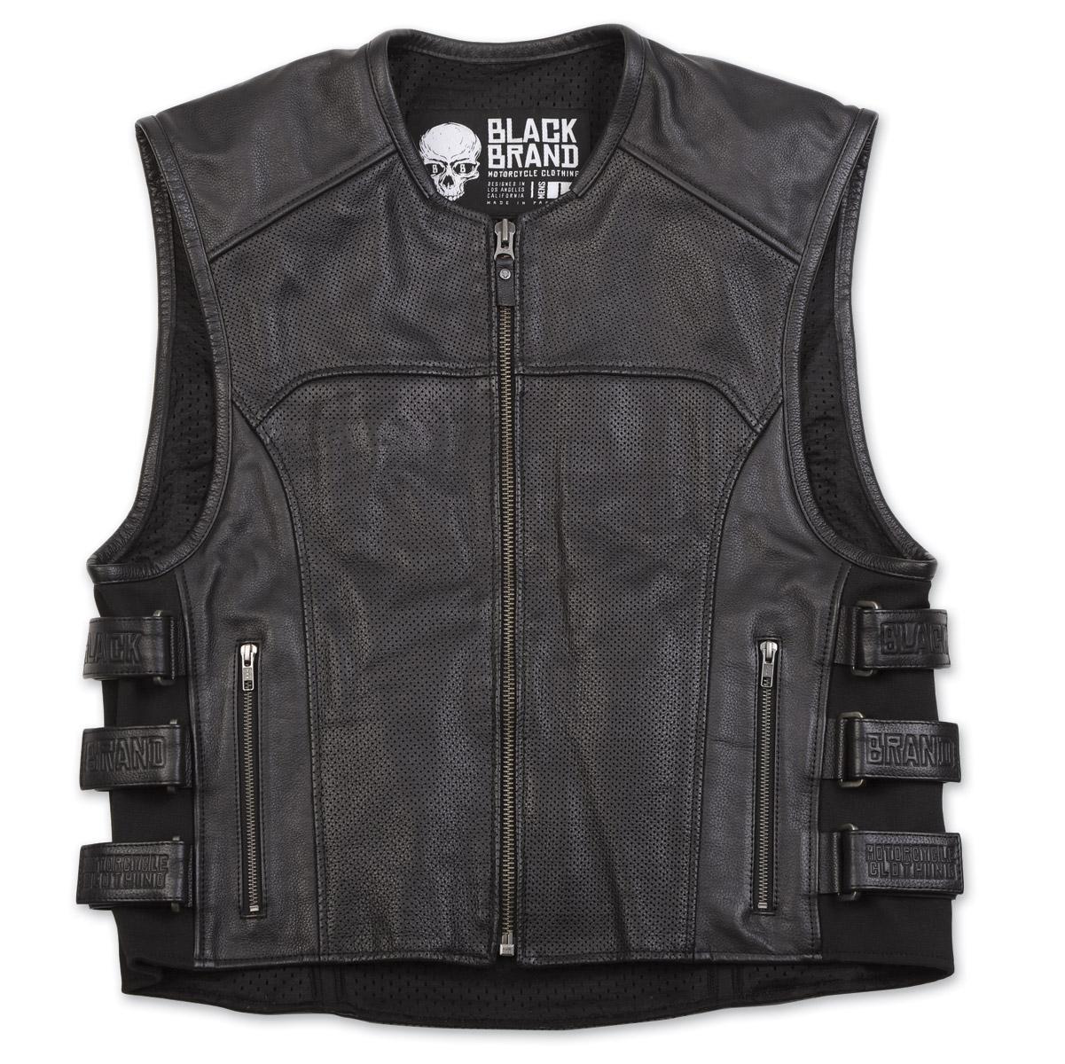 Black Brand Men's Ice Pick Perforated Black Leather Vest