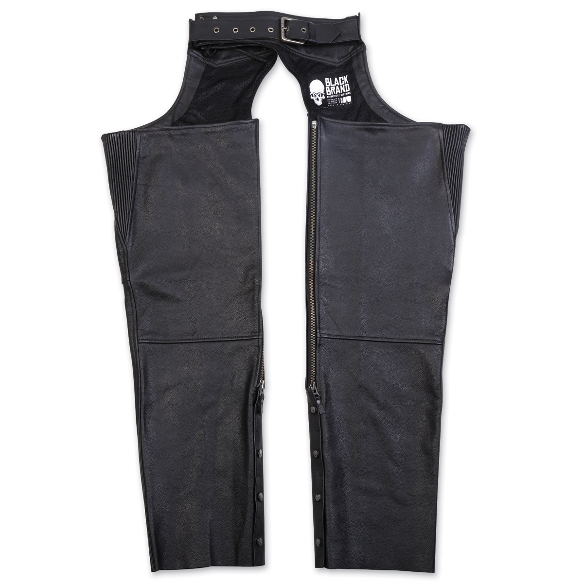Black Brand Men's Moto Black Leather Chaps