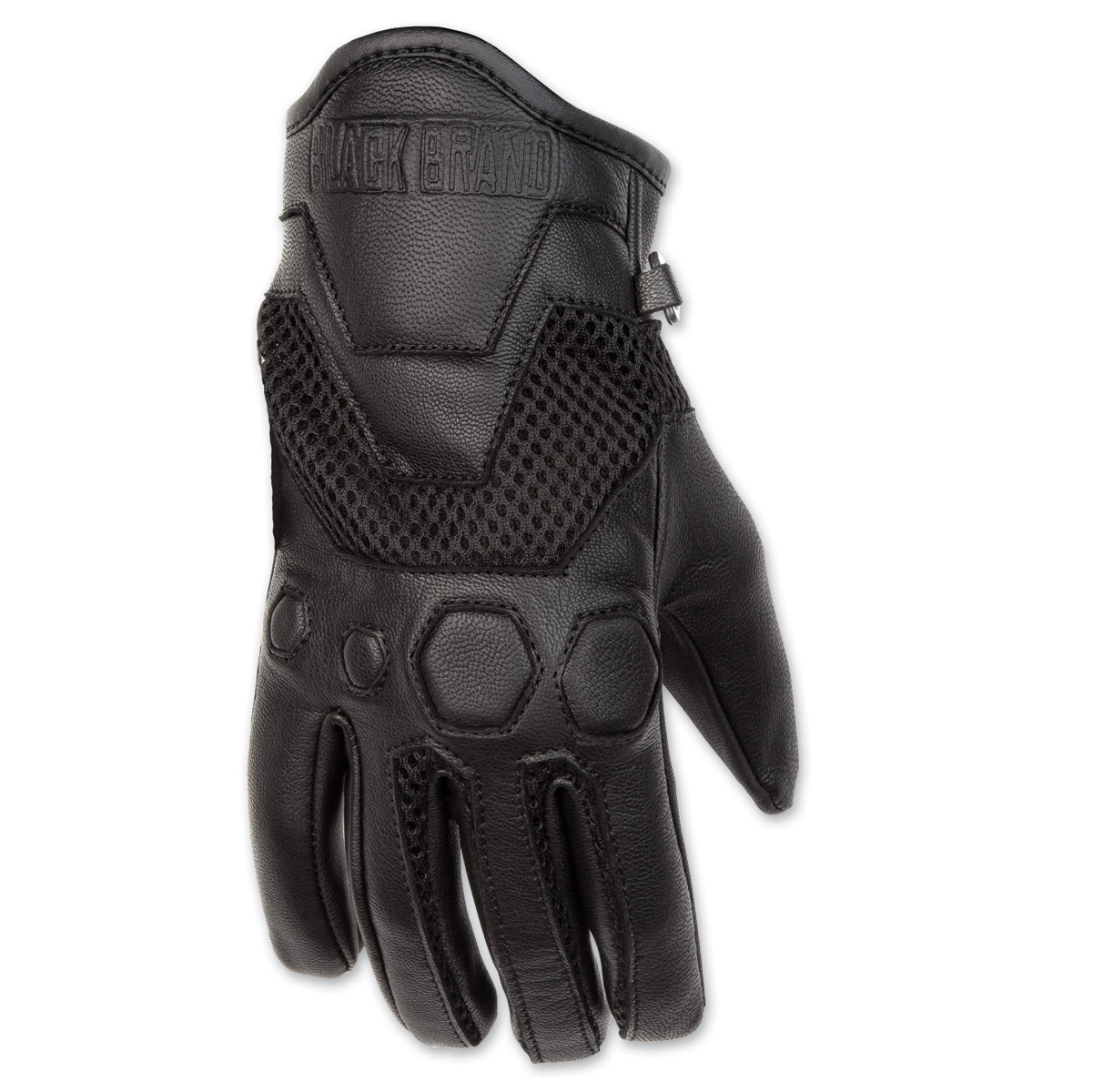 Black Brand Women's RIder Black Mesh/Leather Gloves