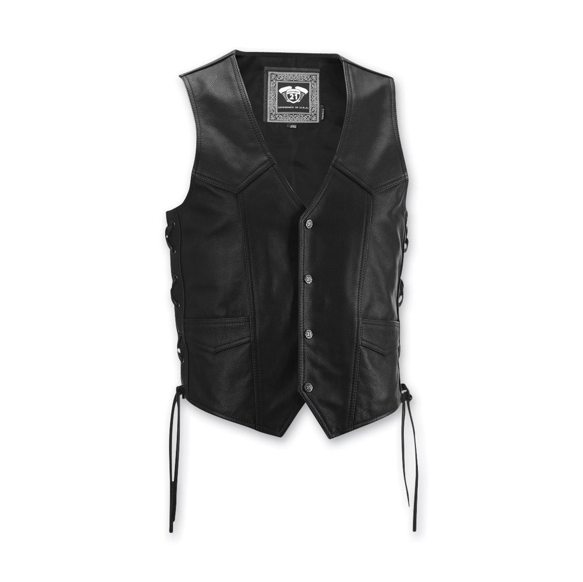 Highway 21 Men's Six Shooter Black Leather Vest