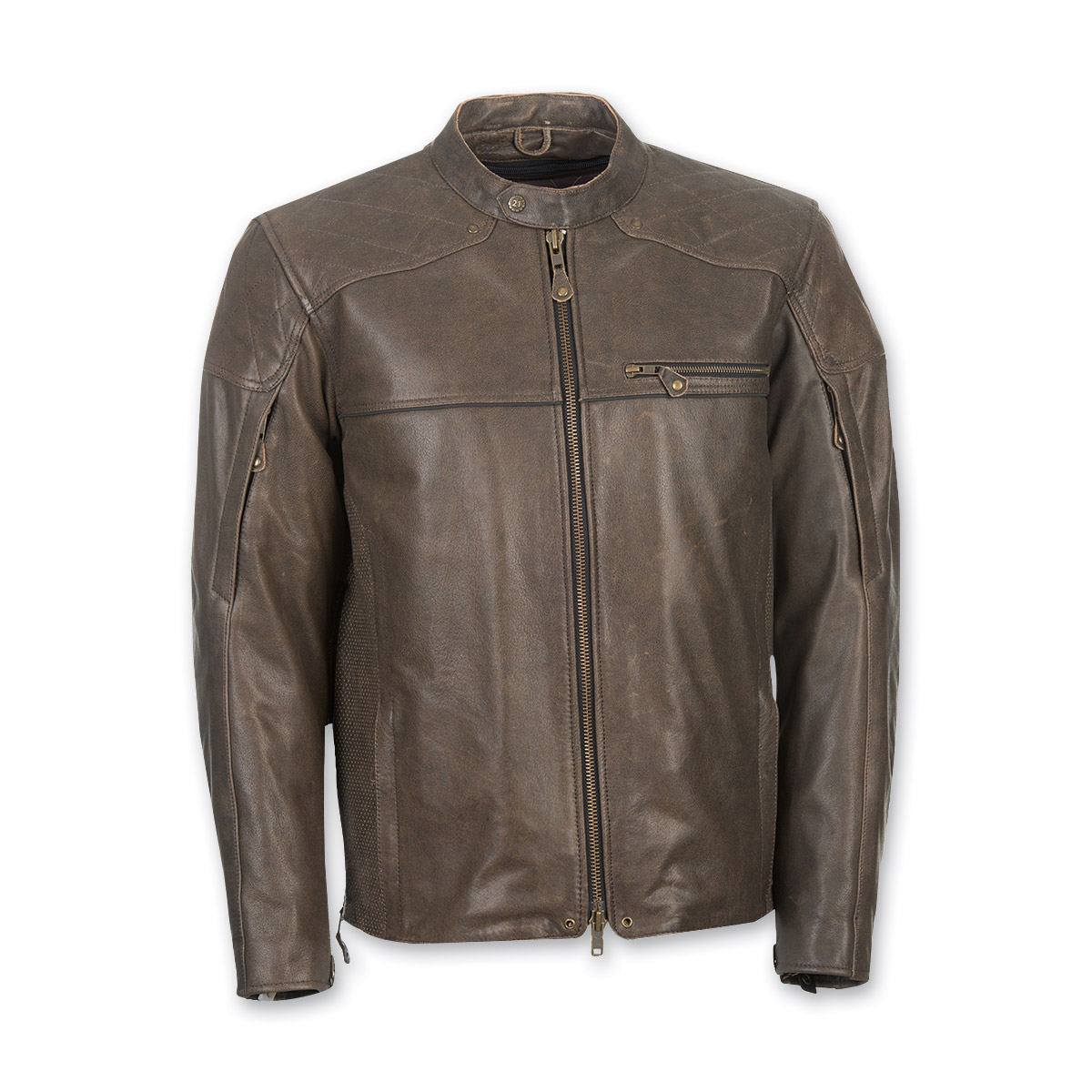 Highway 21 Men's Gasser Brown Leather Jacket