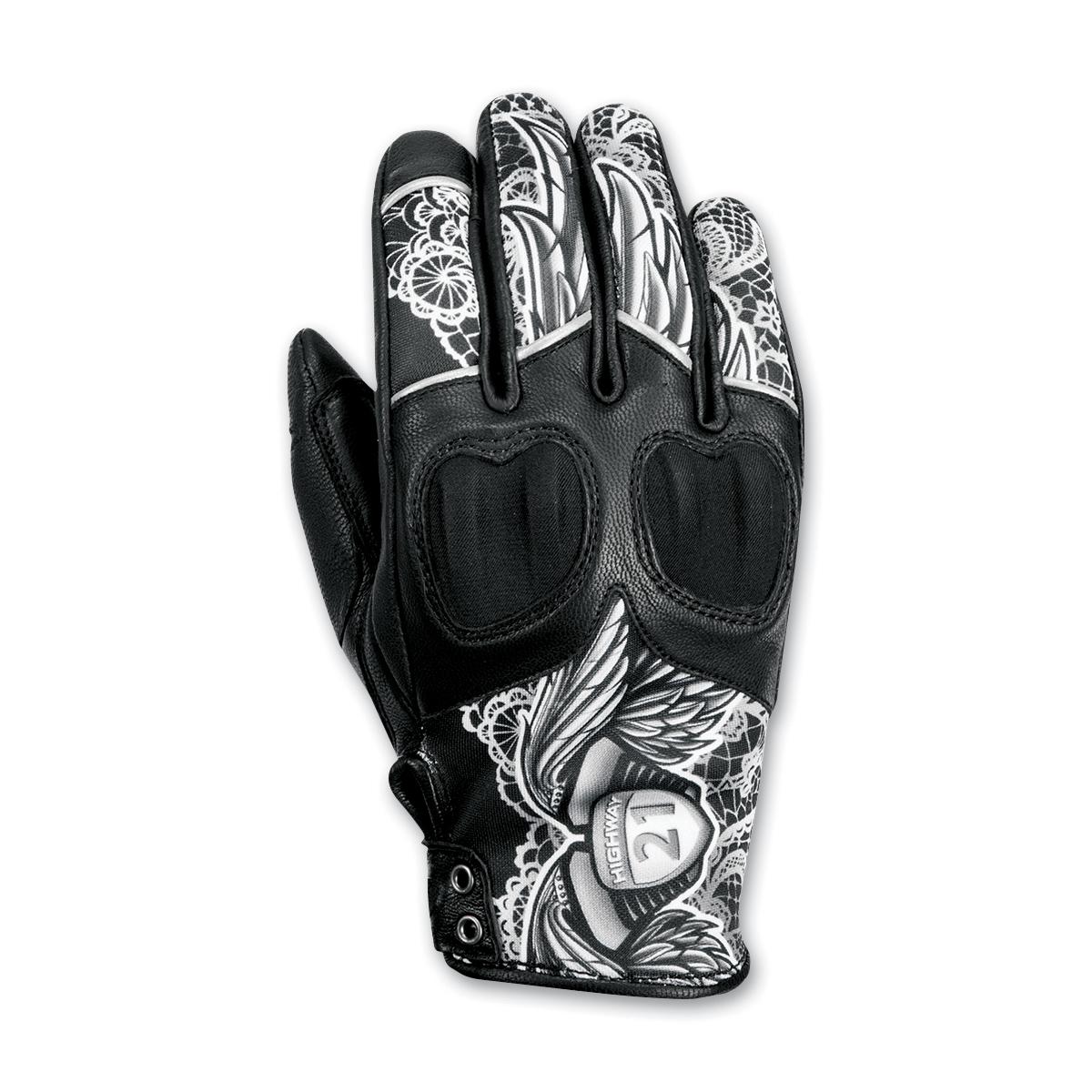 Highway 21 Women's Vixen Black/White Leather Gloves