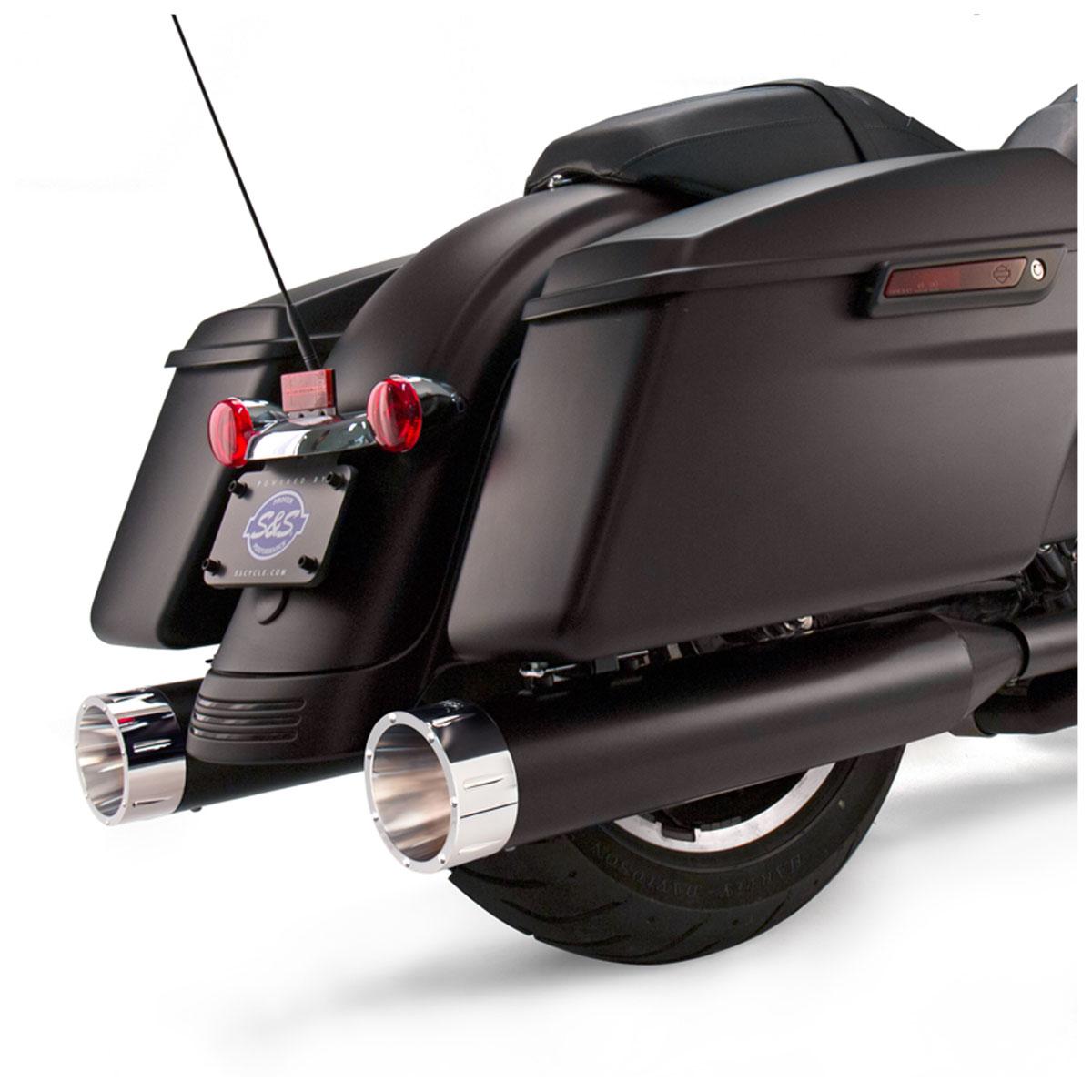 S&S Cycle MK45 4.5″ Mufflers Jet-Hot Black, Chrome Tracer End Cap