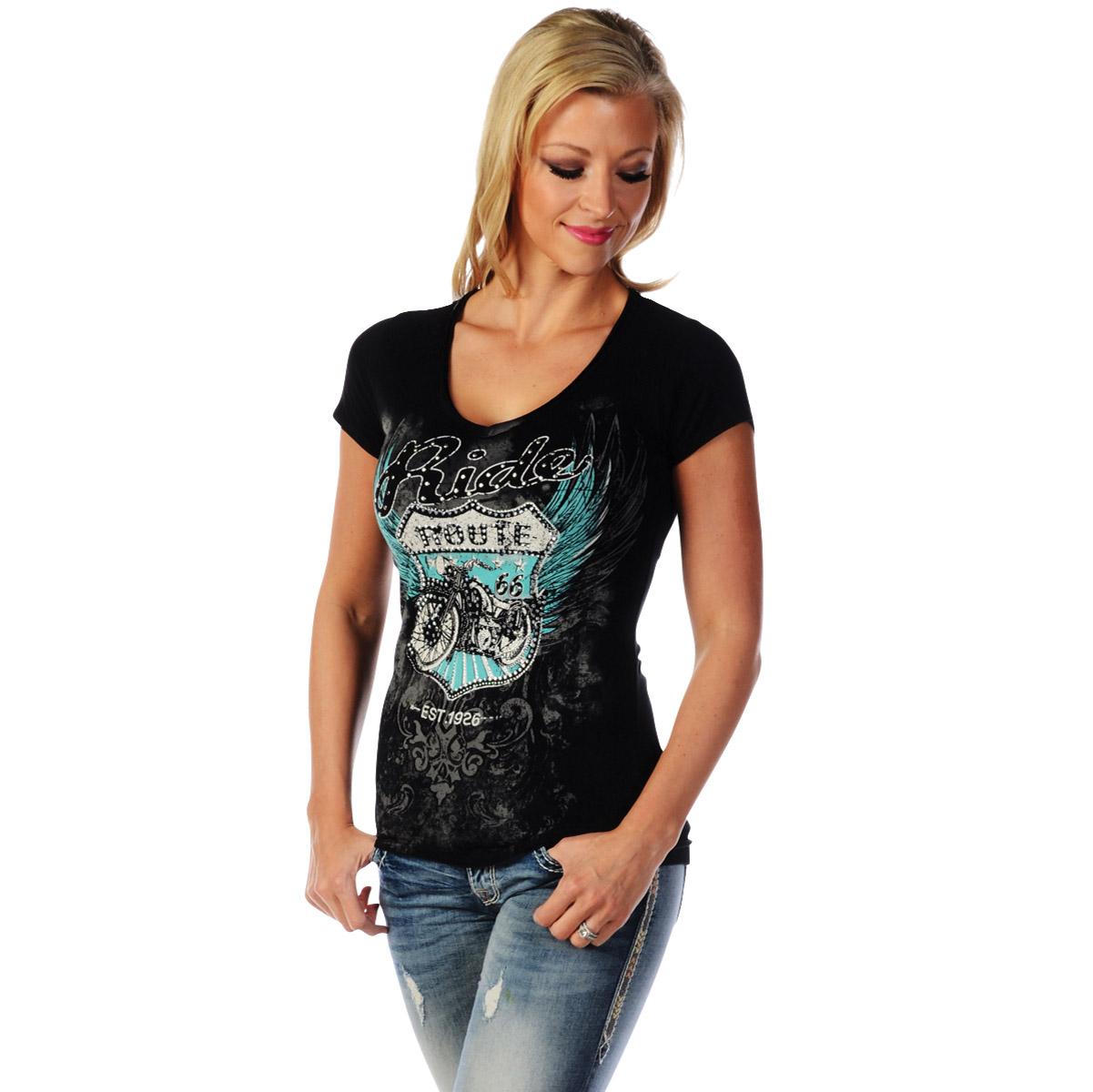 Liberty Wear Women S Route 66 Black V Neck T Shirt 7153 Lg