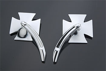 J&P Cycles® Maltese Cross Mirror Set with Billet Stems
