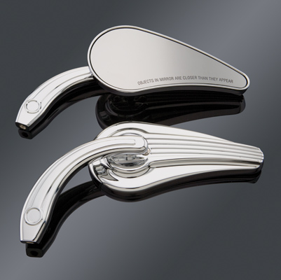 J&P Cycles® Chrome Speed Line Custom Teardrop Mirrors