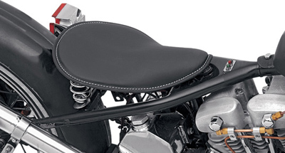 Drag Specialties Low Profile Small Spring Solo Seat Black Leather and White Stiching