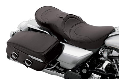 Drag Specialties Low-Profile Flame Stitching Touring Seat with EZ Glide I Backrest