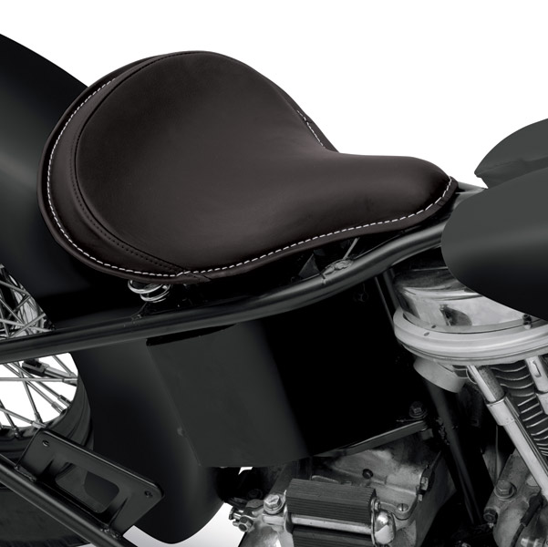 Drag Specialties Large Spring Solo Seat with Black Solar-Reflective Leather and Perimeter Stitched