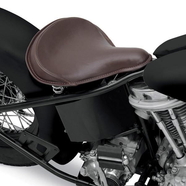Drag Specialties Large Spring Solo Seat with Brown Leather and Perimeter Stitched