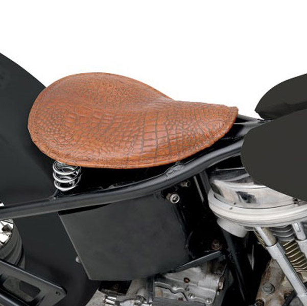 Drag Specialties Brown Leather Faux Alligator with Embossed Belly Pattern Solo Seat