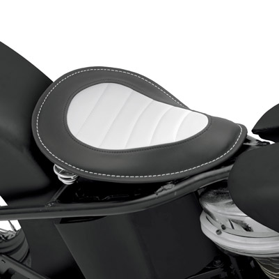Drag Specialties Solor-Reflective Leather Perimeter and Pleated Vinyl Insert Solo Seat
