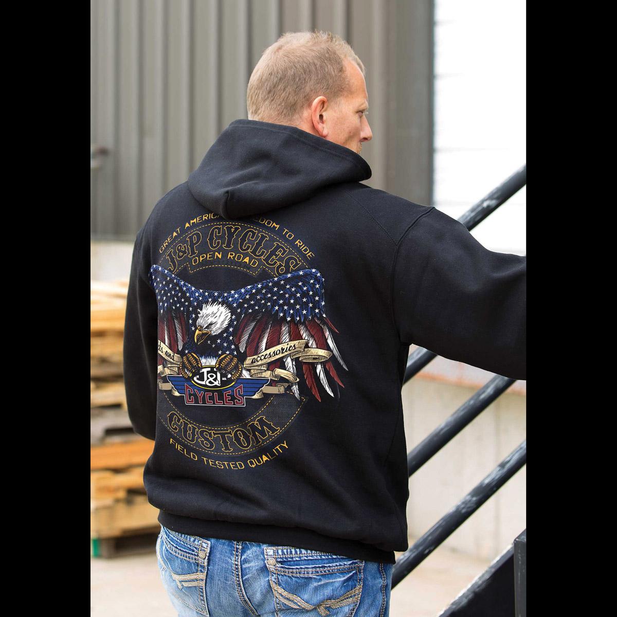 J&P Cycles Men's Eagle Rocker Black Hoodie