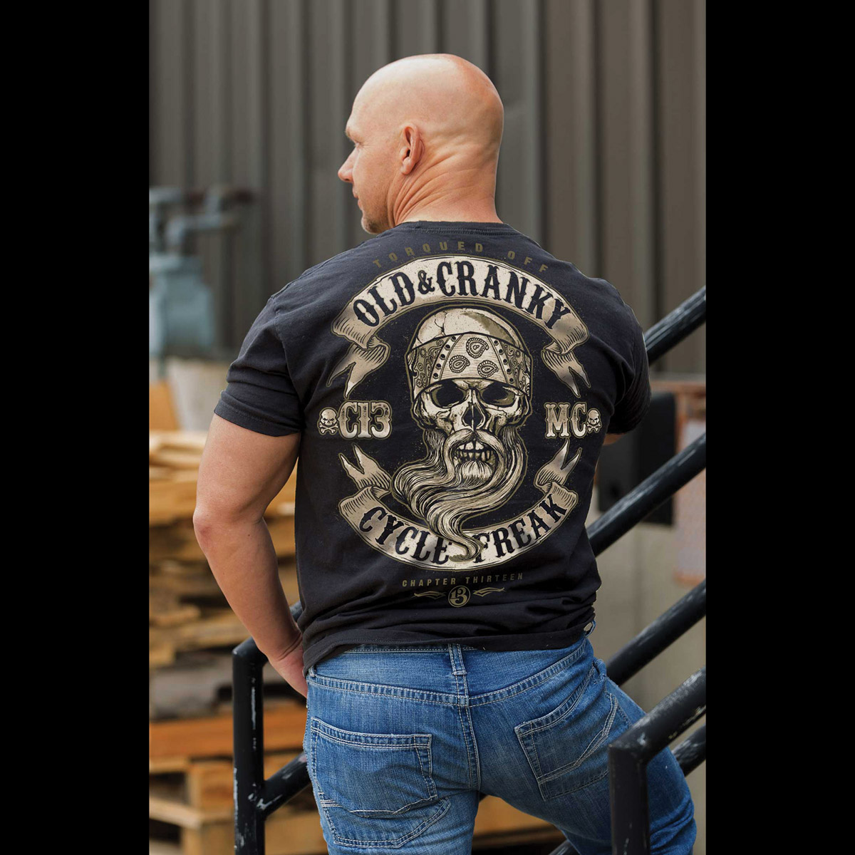 Chapter 13 Men's Old & Cranky Freak Black Pocket T-Shirt