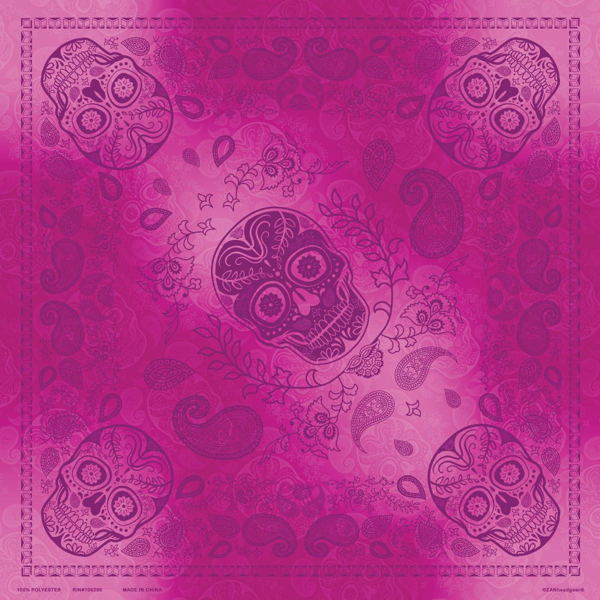 ZAN headgear Pink and Purple Skull Paisley Deluxe Bandana