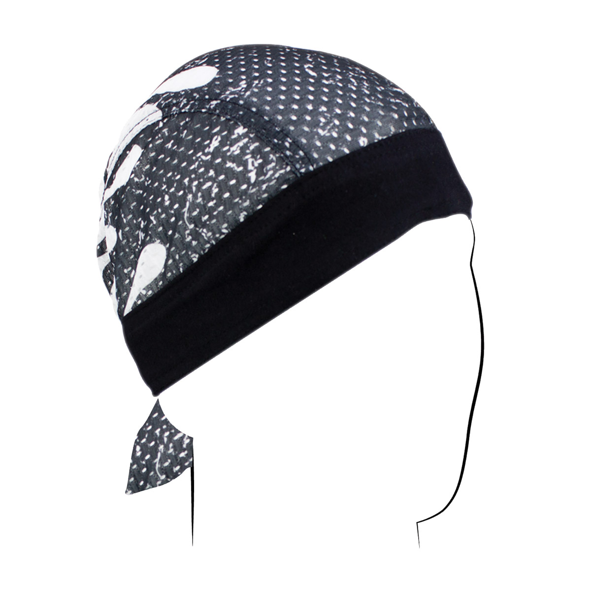 ZAN headgear Black and White Flame Vented Sport Flydanna Headwrap