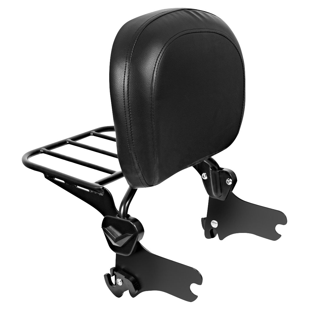 hogworkz quick detachable black sissy bar backrest with luggage rack