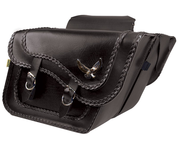 Willie & Max Gold & Silver Eagle Super Black Magic Collection Saddlebags