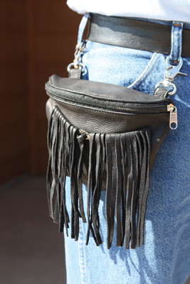 Deerskin Biker Bag with Fringe