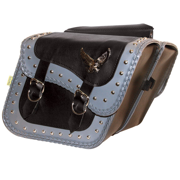 Willie & Max Eagle Gray Thunder Studded Super Gray Saddlebags