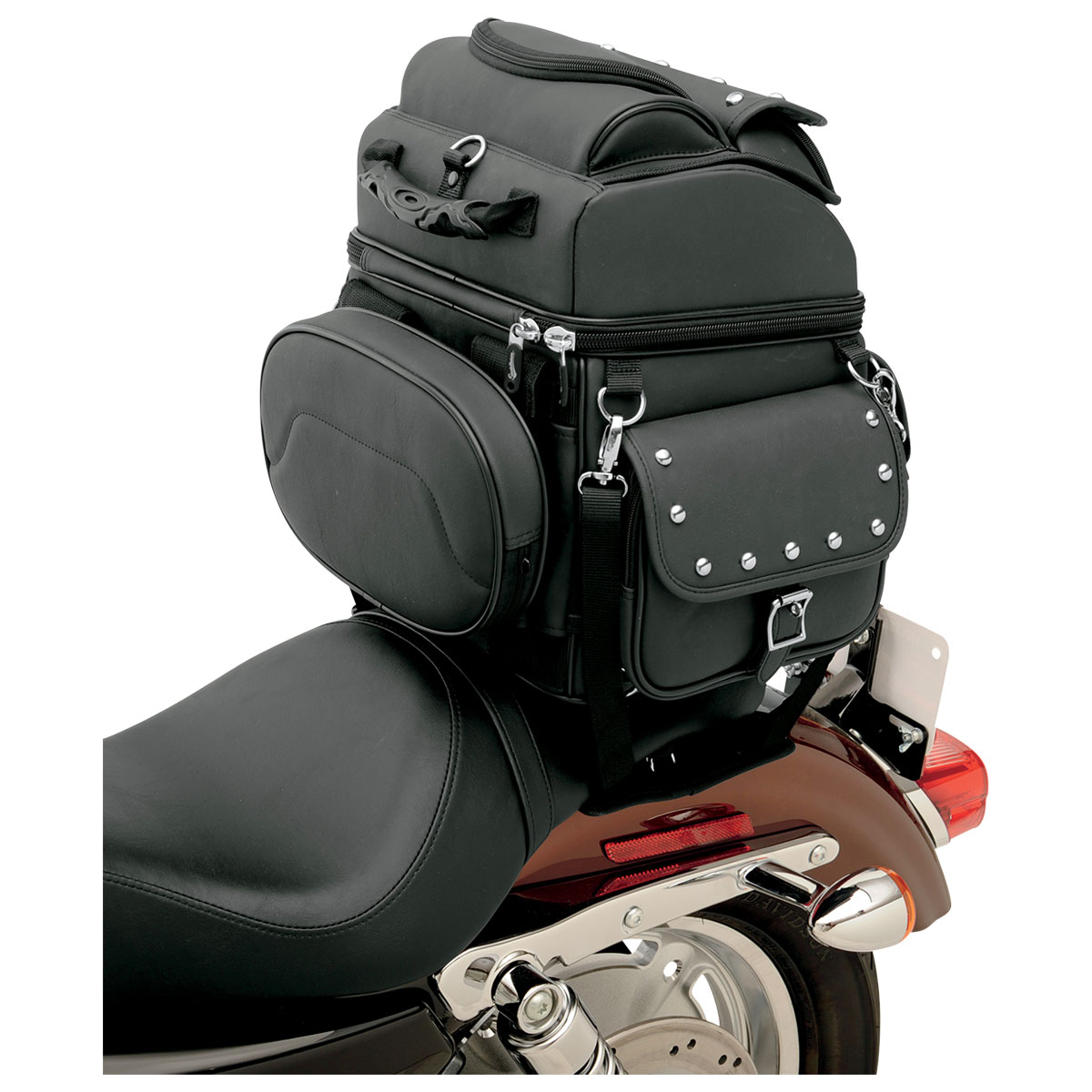 Saddlemen BR1800EXS Studded Backrest, Seat and Sissybar Bag