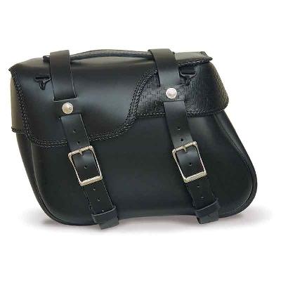 Leatherworks, Inc. Angle Split Lid Box Basket Weave Saddlebags